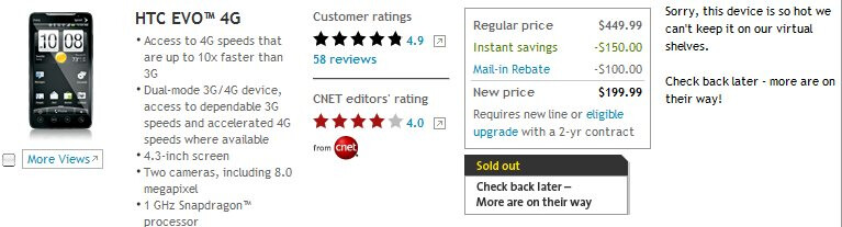 HTC EVO 4G is currently out of stock on Sprint's web site