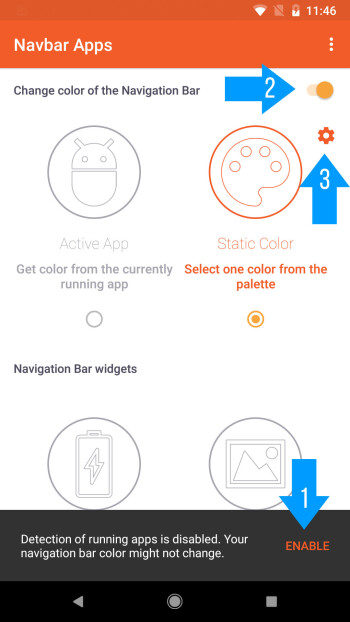 Enable permissions for Navbar Apps, enable the toggle at the top, and select Static Color
