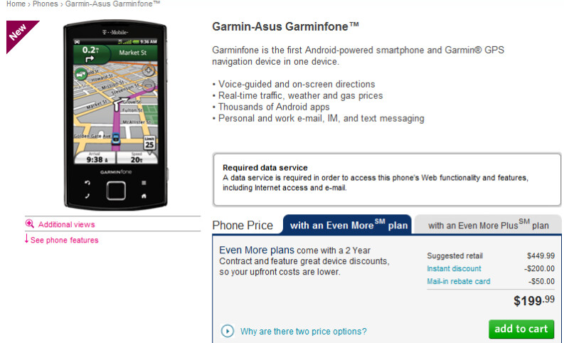 Garminfone now available from T-Mobile for $199 on contract, after rebate