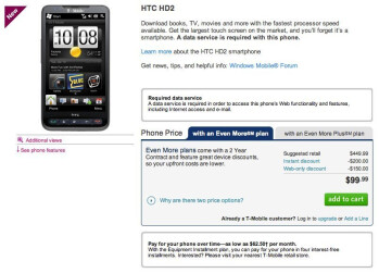 T-Mobile is selling the HTC HD2 for $99.99 online today only