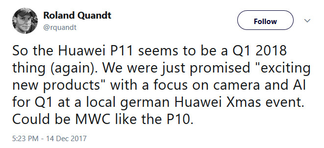 The Huawei P11 is expected to make its first appearance at MWC 2018 - Huawei P11 expected to be unveiled at MWC and launched in Q1 2018