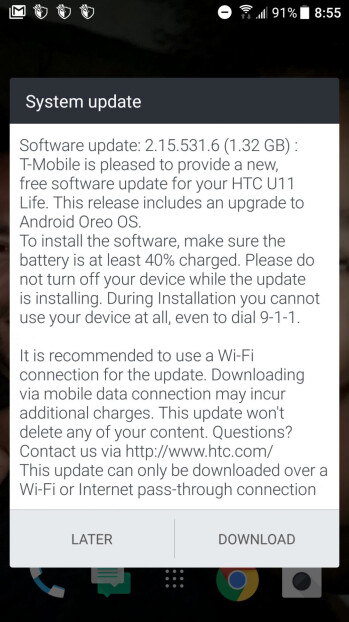 HTC U11 Life starts receiving Android 8.0 Oreo update at T-Mobile