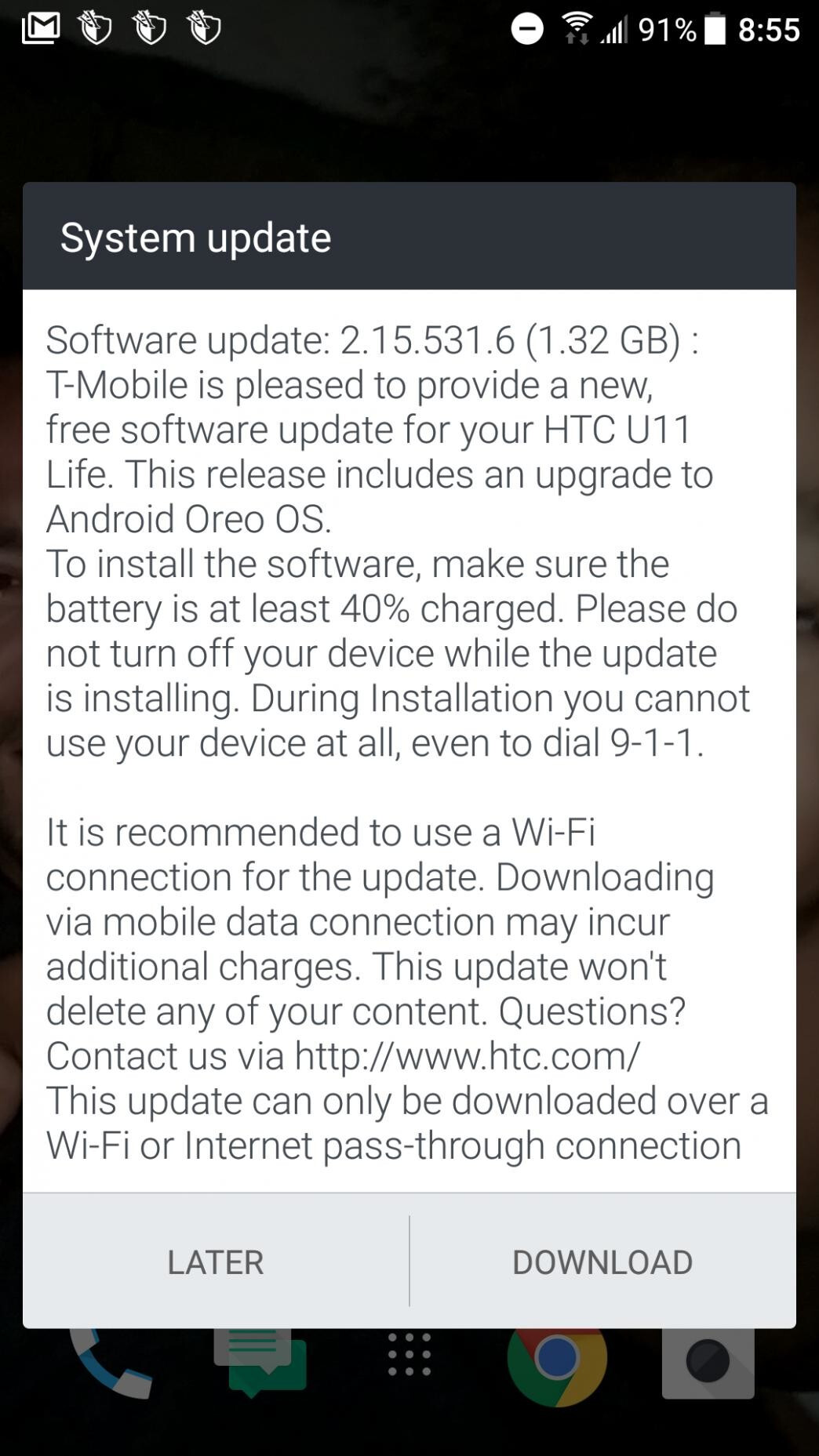 HTC U11 Life starts receiving Android 8 0 Oreo update at T-Mobile