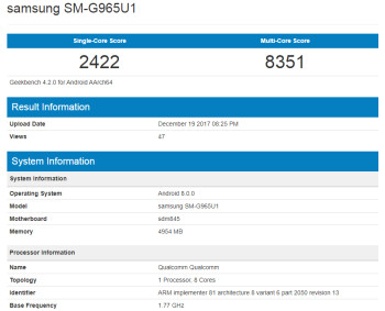 Samsung Galaxy S9+ (with Snapdragon 845) gets benchmarked, impressive scores ensue