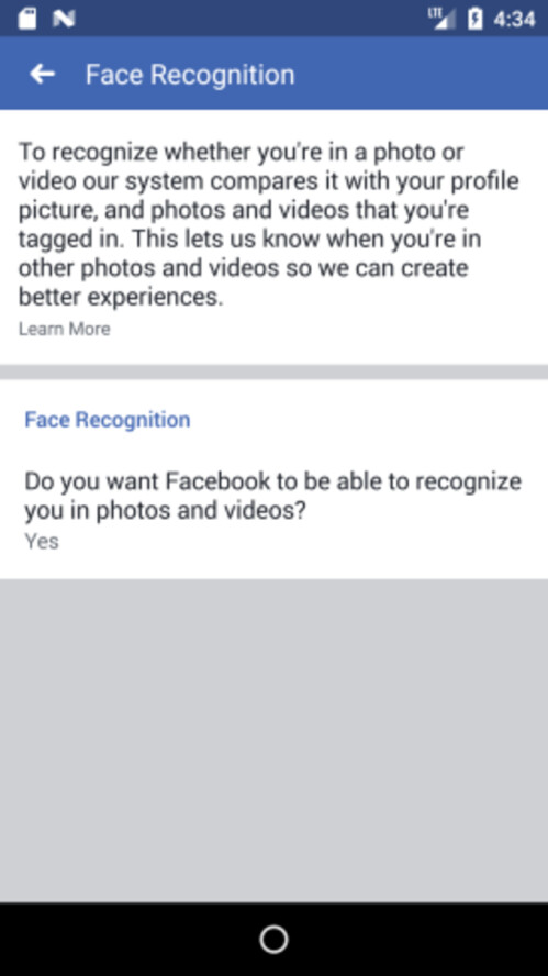 New Facebook face recognition features