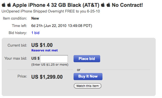 Apple Iphone 4 Listed On Ebay For Just 1299 Unit Ships June 25th Phonearena