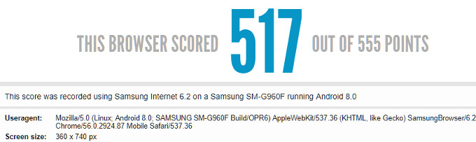 Alleged Galaxy S9 browser benchmark tips aspect ratio that screams Infinity Display design