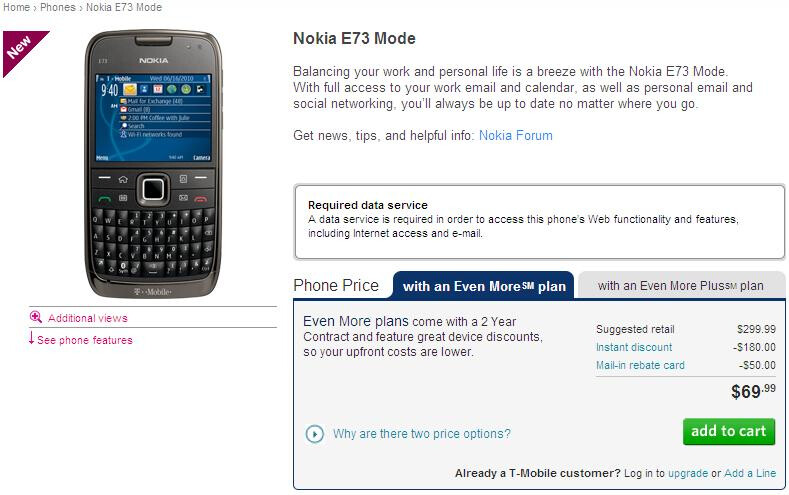 Nokia Mode E73 is now available on T-Mobile's web site for $69.99