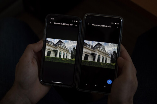 Same photos, iPhone X on the left, Pixel 2 XL on the right