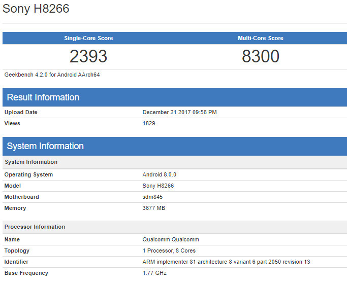 Benchmark confirms Qualcomm Snapdragon 845 CPU for Sony's upcoming flagship