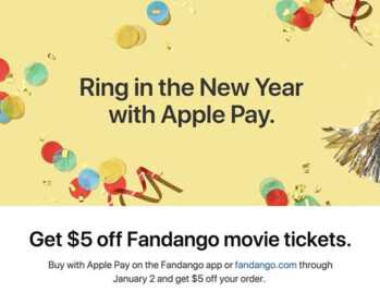 From now through January 2nd, use Fandango and Apple Pay to pay for your movie tickets, and save $5