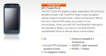 HTC Touch Pro2 makes a reappearance on Orange UK's web site