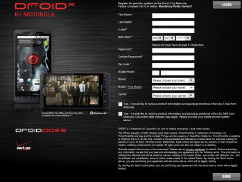 Sign-up page on Motorola's site for the DROID X