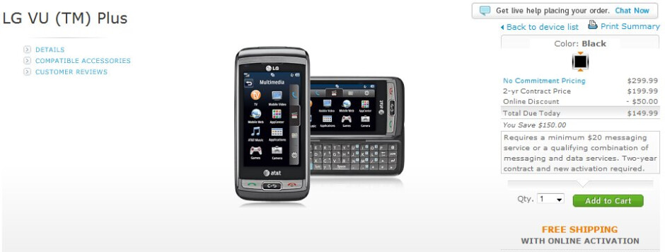 LG Vu Plus is now available on AT&T's web site for $149.99