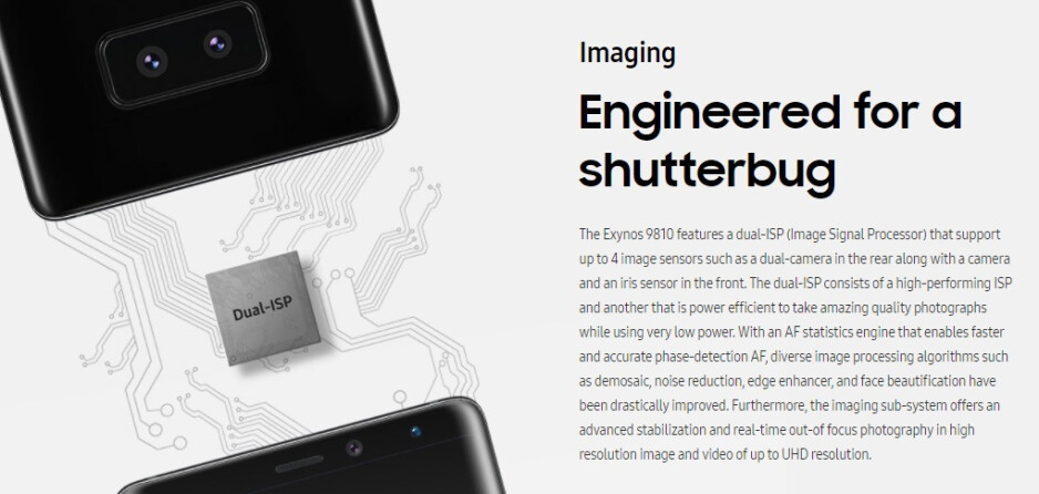 The promotional image in question. The smartphone depicted is very likely just a placeholder image in place of the final product - New Samsung trademark hints at Galaxy S9/S9+ camera improvements