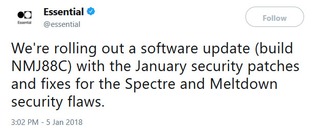 Essential Phone receives update with January security patch - Essential Phone receives January security patch which includes fixes for Meltdown and Spectre flaws