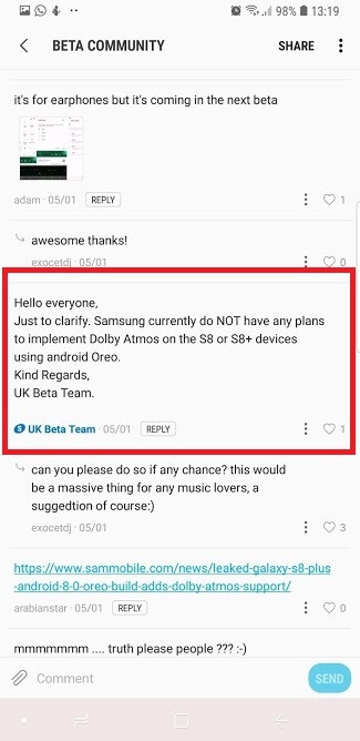 Samsung Galaxy S8/S8+ won't get Dolby Atmos with Oreo update