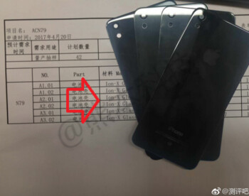 These back panels are allegedly for the iPhone SE 2 and are listed as being made from glass in the document behind them