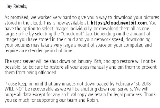 Nextbit announces that the Robin's Smart Saver cloud service will end on March 1st - Nextbit Robin Smart Saver cloud service shuts down on March 1st