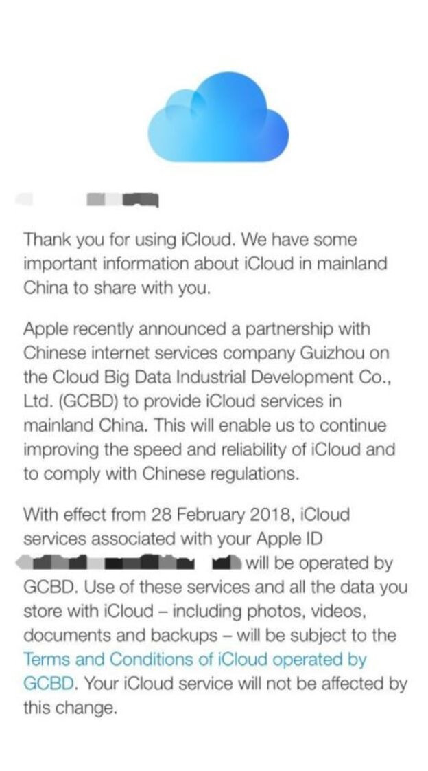 Chinese company will operate local Apple iCloud accounts, starting February