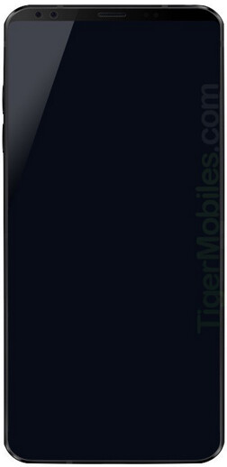 This image allegedly shows a render of the LG G7 - LG G7 render surfaces revealing dual front-facing cameras
