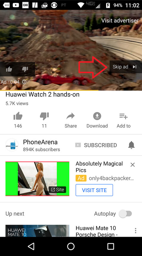 The next update to YouTube for Android may allow you to swipe away ads instead of tapping on the screen - Latest version of YouTube for Android app features code for a dark theme and more