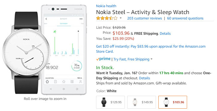 Deal: Nokia Steel is on sale for 20% off on Amazon