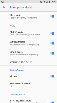 Emergency/AMBER alerts on Android