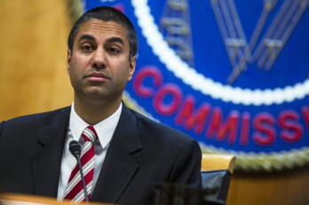 FCC chaiman, Ajit Pai; photo by Zach Gibson/Bloomberg