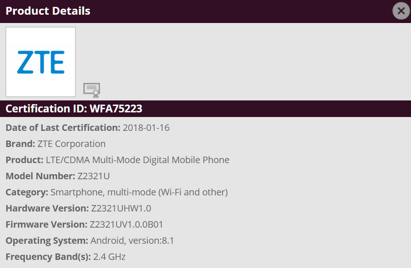 ZTE Z2321U receives its Wi-Fi certification - Mystery ZTE phone gets certified by Wi-Fi Alliance with Android 8.1 installed; is it the Axon 8?