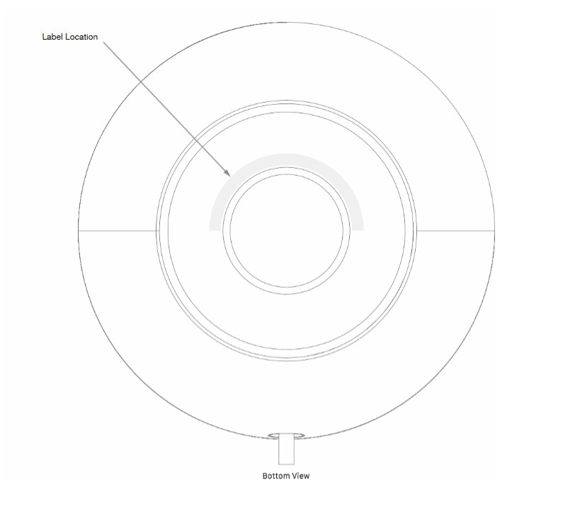 From the FCC documentation, this image reveals where the FCC label will appear on the bottom of the HomePod - Apple's HomePod smart speaker gains FCC approval; launch could be imminent