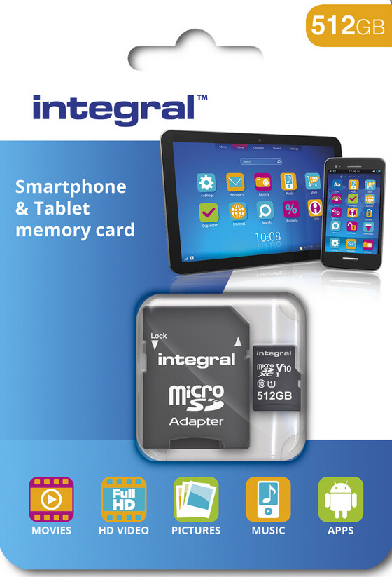 Packaging for Integral Memory's 512GB microSDXC card - 512GB microSDXC card coming next month from U.K.'s Integral Memory