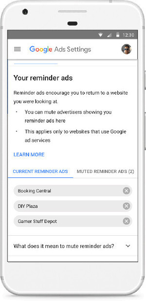 Google implements a feature to mute reminder ads