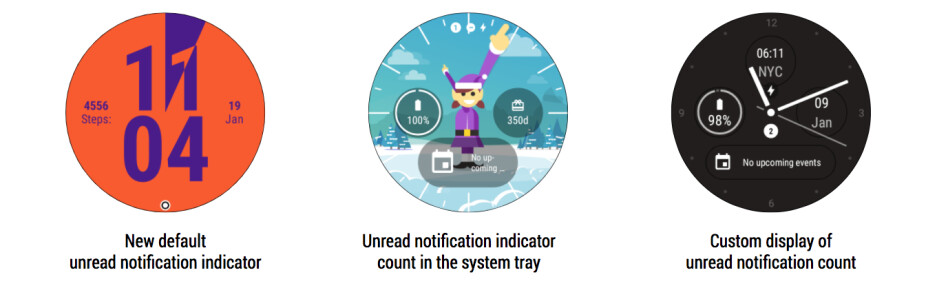 The notification dot found at the bottom of the screen reminds users of unread notifications. The number of unread notifications can also be placed by developers in the system tray or in a unique location on the watch face - Android Oreo's notification dots are coming to Android Wear