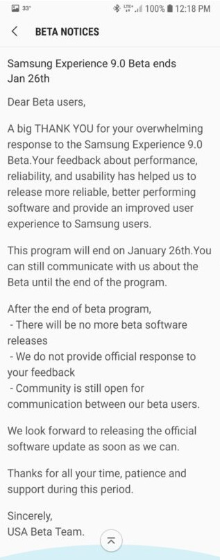Samsung announces the end of the Android Orea beta program - Android Oreo beta for Samsung Galaxy S8/S8+ ends tomorrow (January 26th)