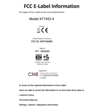 FCC E-Label for the Moto E5