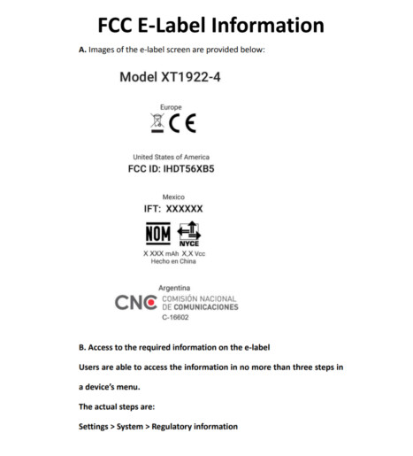 FCC E-Label for the Moto E5 - Moto E5 and Moto E5 Plus listed on FCC site; both models will carry a 4000mAh battery