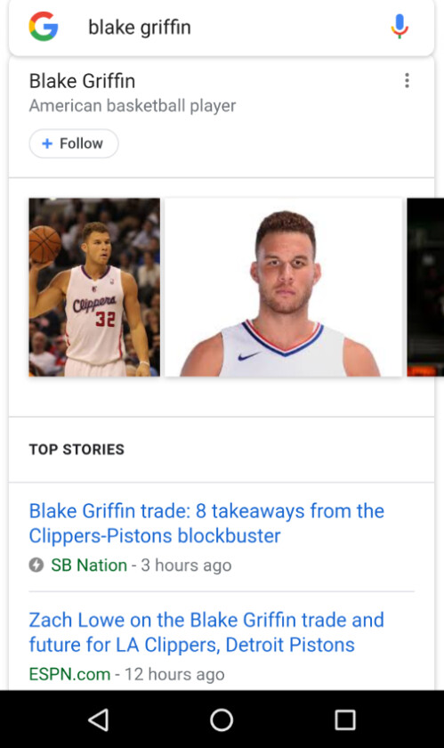 Searching for Blake Griffin using Google on Chrome