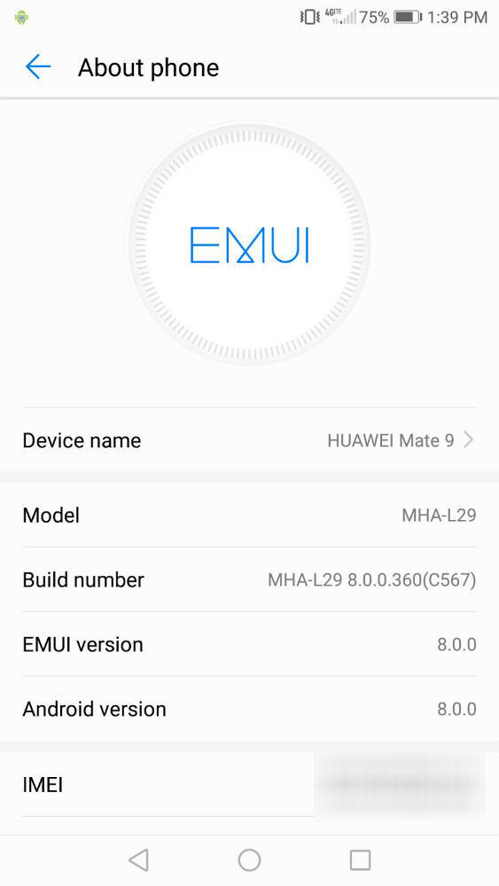 Unlocked Huawei Mate 9 receiving Android 8.0 Oreo in the US