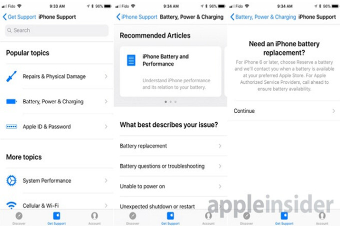 Apple is testing a feature on the iPhone support app that will allow you to reserve the battery you need for your handset - Apple iPhone support app will reserve the iPhone battery you need, and alert you when it's in stock