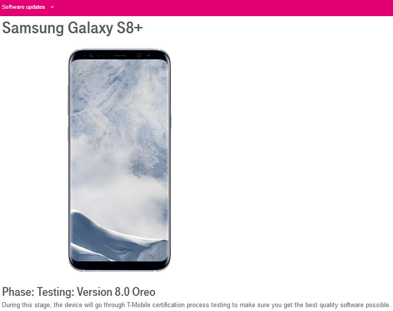 T-Mobile is now testing Android 8 Oreo for Samsung Galaxy S8 and S8+