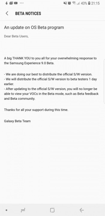 "Galaxy S8 beta testers to get Android Oreo a day earlier, Samsung ""doing its best"" to release official update"