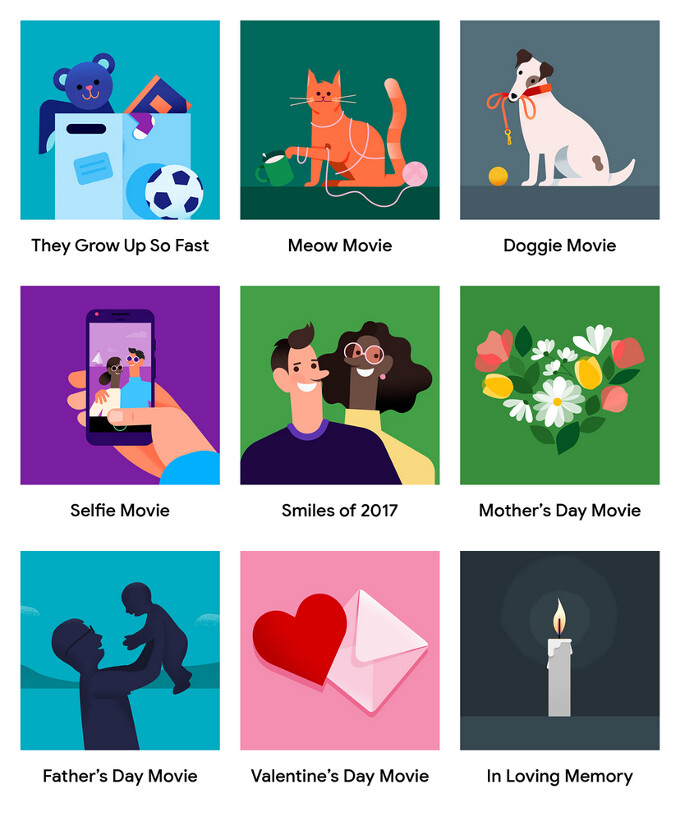 The current selection of movie themes - Google is celebrating Valentine's Day with create-your-own movies in Google Photos