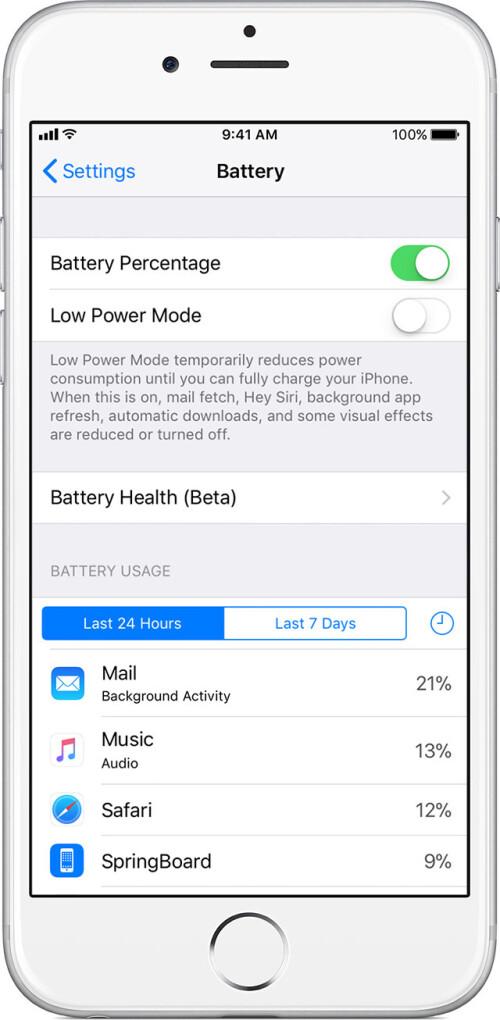 Battery Health submenu