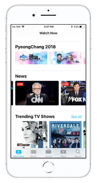 The news section, as seen on the iOS TV app. On the right is the prompt you'll get in case you're missing a network's app.