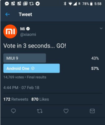 Xiaomi deleted this tweet after it showed Android One beating out MIUI