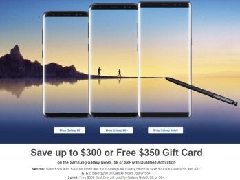 Deal: Save up to $300 on a Samsung Galaxy Note 8 or S8 (Verizon, AT&T, T-Mobile), or get a $350 gift card (Sprint)