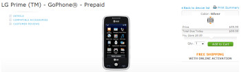 AT&T offers LG Prime as a pre-paid touchscreen handset