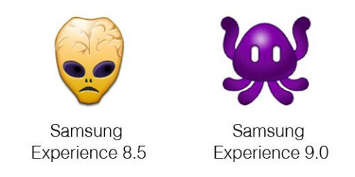 Samsung Experience 9.0 vs 8.0 emoji changelog