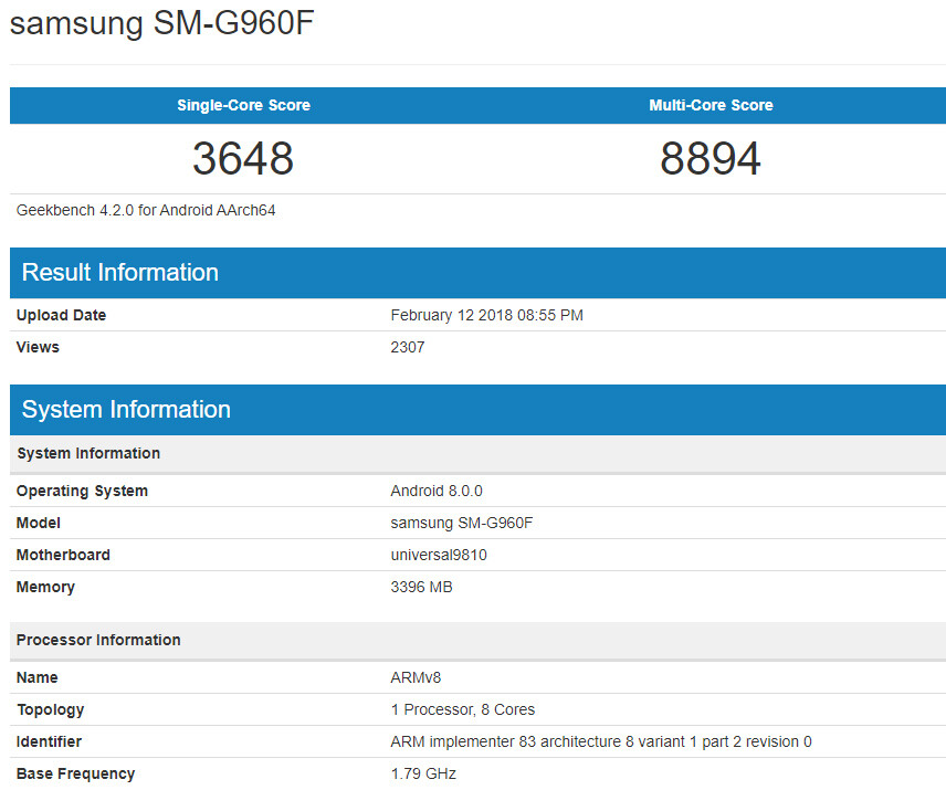 Samsung SM-G960F with Exynos 9810 benchmarked - Samsung Galaxy S9 with Exynos 9810 on deck pops up in benchmark, humiliates Snapdragon 845